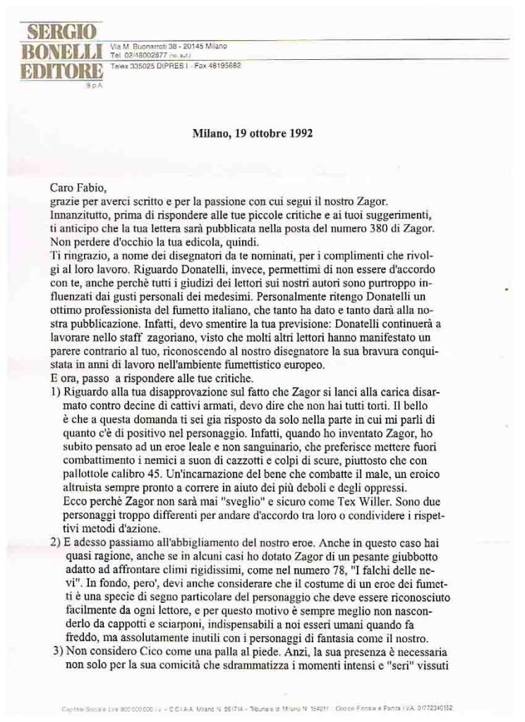 LETTERA DELL'EDITORE SERGIO BONELLI parte 1