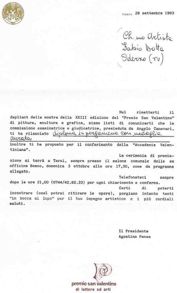 TERNI 1993 SEGNALAZIONE PER DUE QUADRI AD OLIO
