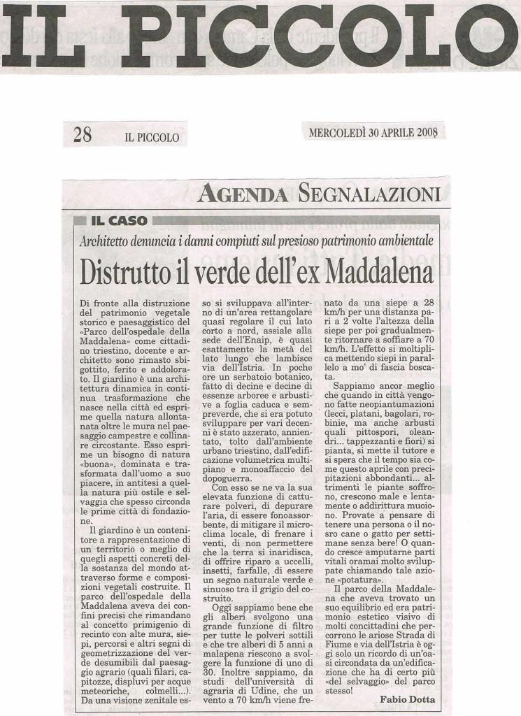 DISTRUZIONE DEL PARCO DELLA MADDALENA