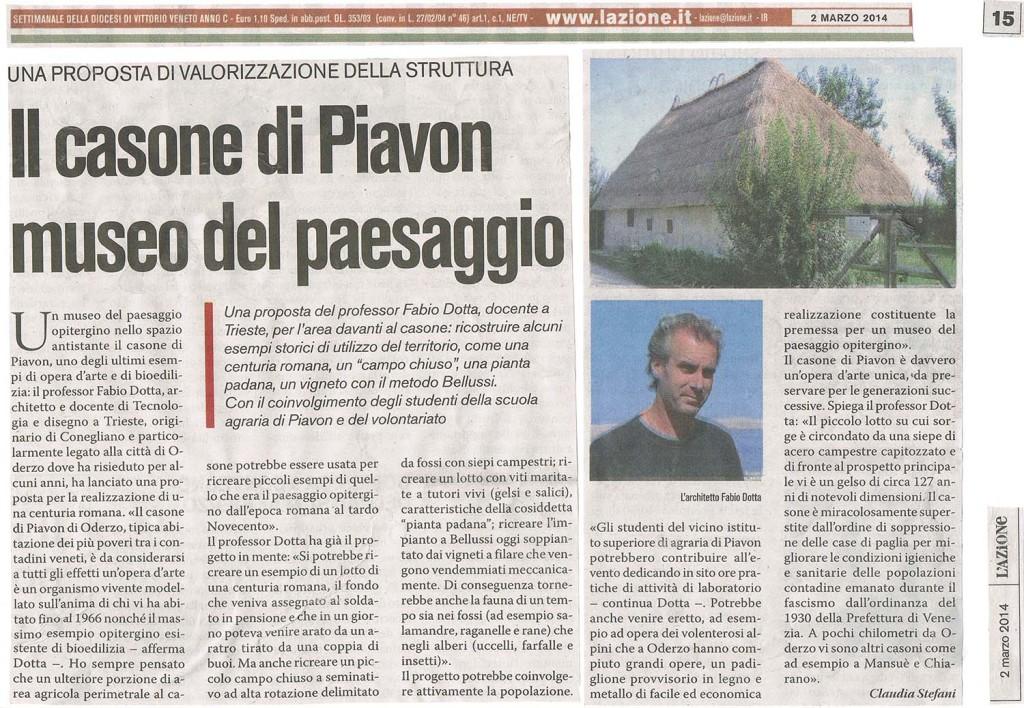 L'AZIONE (MARZO 2014) ART. SUL CASONE DI PIAVON
