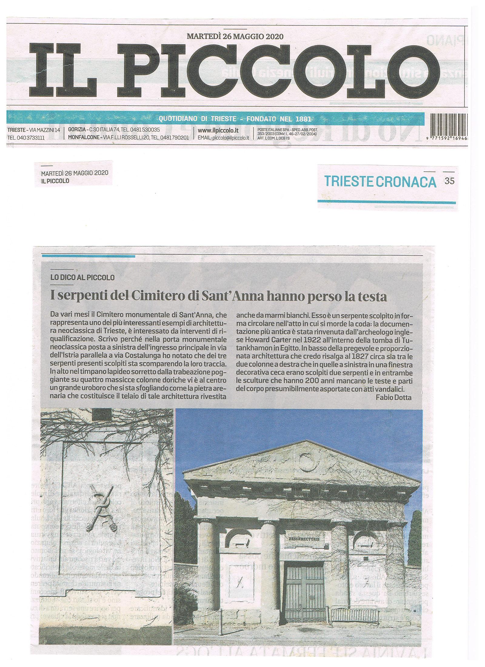 ARTICOLO FABIO DOTTA CIMITERO MONUMENTALE SANT'ANNA TRIIESTE - ALL