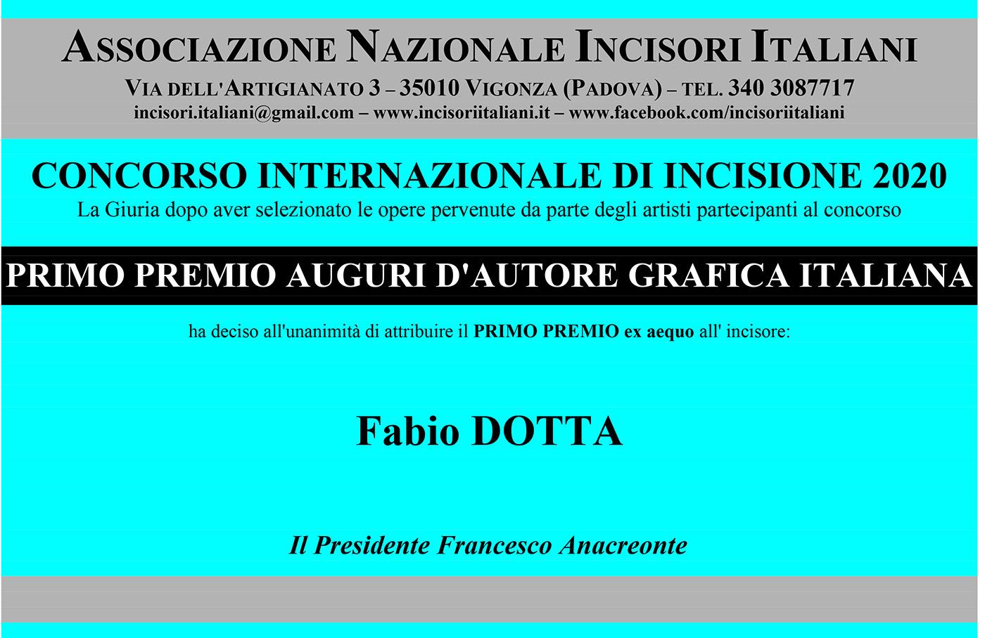 Attestato Vincitore 2020 - FABIO DOTTA